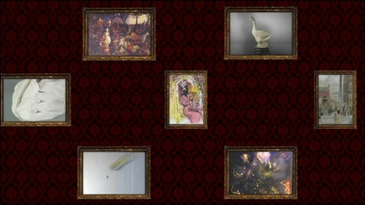 Graphics showing some of the artworks on display