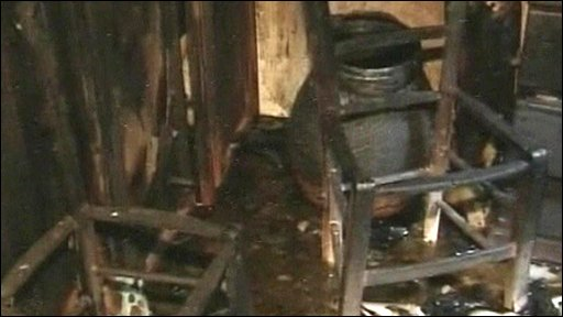 Fire damage in synagogue