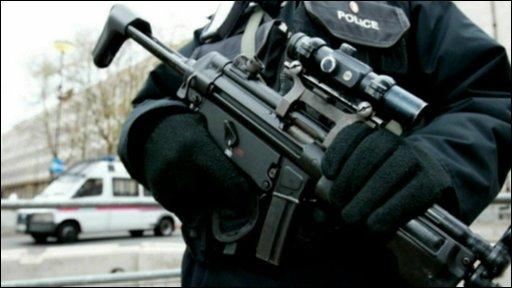 Anti-terror police with gun