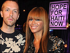 Chris Martin from Coldplay and Beyonce