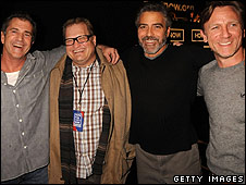 actors Mel Gibson, Drew Carey, George Clooney and Daniel Craig
