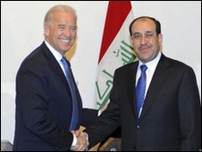 Joe Biden (left) and Nouri Maliki in Baghdad, 23 Jan