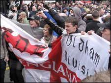 EDL supporters at the rally in Hanley, Stoke-on-Trent