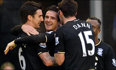 Birmingham players celebrate goal