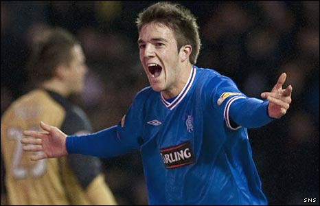Rangers' Andrew Little celebrates his goal against Hearts