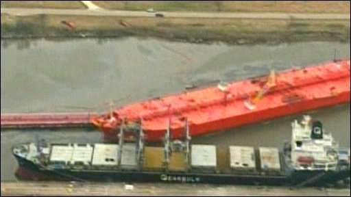Aerial views showed the spillage at Port Author in Texas