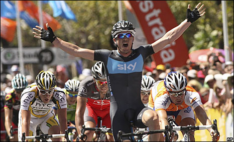 Chris Sutton celebrates as he wins the final stage