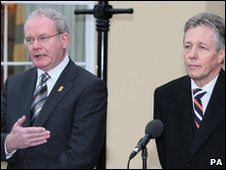 Northern Ireland's First and Deputy First Ministers Peter Robinson (right) and Martin McGuinness (left)