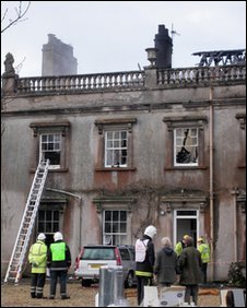 Fire damage at Holnest Park House