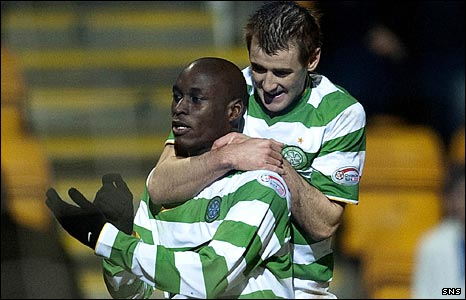 Marc-Antoine Fortune celebrates with Niall McGinn
