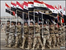Iraqi special police commandos march during a police parade in Baghdad, Jan 2007