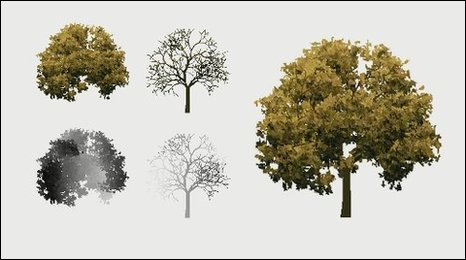 View of animated trees