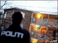 Police officer outside the Oslo flat of Mullah Krekar, 25 January 2010