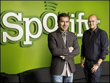 Spotify's founders Martin Lorentzon (left) and Daniel Ek