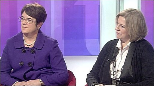 Sarah McCarthy-Fry and Theresa May