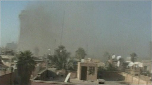 Smoke and dust in Baghdad
