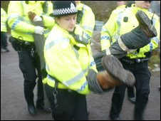 Protester being lifted into police van at Mainshill Wood