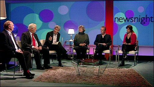 L-R: Neil Kinnock, Chris Patten, Jeremy Paxman, A S Byatt, Martin Amis, Rebecca Front