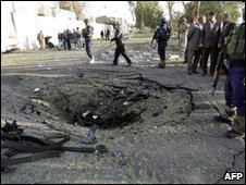 Site of blast outside Sheraton Hotel in Baghdad on 25 January 2010