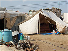 Tent and shacks where Maryam Ataya is living