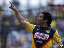 Cabanas celebrates after scoring for America against San Luis on 17 January