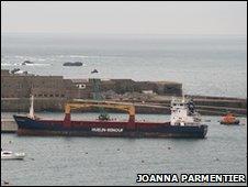 MV Huelin Dispatch moored in Alderney Harbour