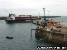 MV Huelin Dispatch in Alderney Harbour