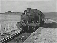 Steam train on Dartmoor, 1954