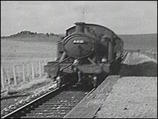 Steam train on Dartmoor, 1954