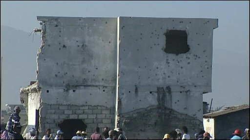 Buildings with bullet holes