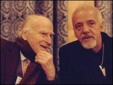 Yehudi Menuhin and Paulo Coelho in Davos