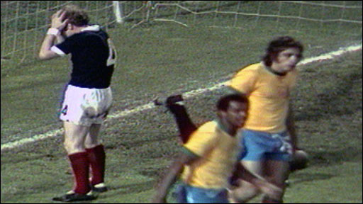 Scotland's Billy Bremner against Brazil in the 1974 World Cup