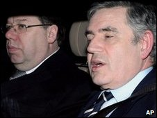 Brian Cowen and Gordon Brown arriving at Hillsborough Castle