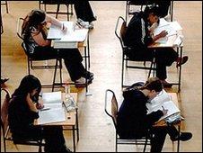 School children sitting exams