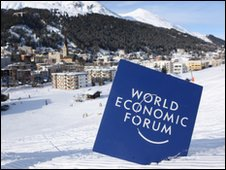 World Economic Forum logo in snow