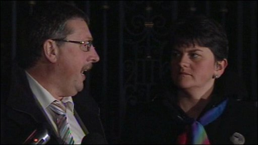 Sammy Wilson and Arlene Foster