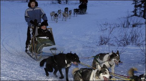 Robert Groves in a dogsled in Noorvik, Alaska, driven by Brian Coffin, 11