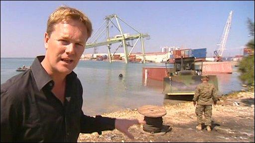 Christian Fraser at the Haiti port