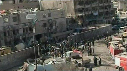 Scene outside bombed foresnics building