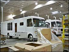 New RVs in the Damon motorhome factory