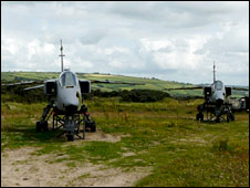 Jaguar aircraft sited at Pembrey Sands as targets