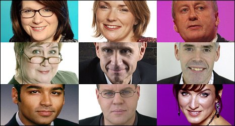 Top Row: Jana Bennett, Jay Hunt, Shaun Woodward. Middle Row: Jenni Murray, Evan Davis, Peter Horrocks. Bottom Row: Krishnan Guru Murthy, Mark Lawson, Fiona Bruce
