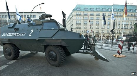 A German police armoured vehicle at the Pariser Platz in Berlin, 25 January 2010