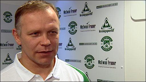 Hibernian manager John Hughes