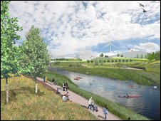 A digital impression of the 2012 Olympic legacy parkland