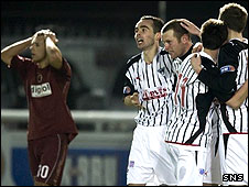 Dunfermline's Andy Kirk is congratulated on his extra-time winner