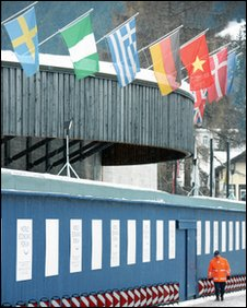 Flags outside the World Economic Forum
