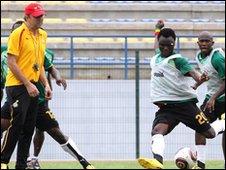Ghana coach Milovan Rajevac watches his squad train