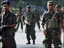 Soldiers outside the Cinnamon Lake Hotel, Colombo, 27 jan