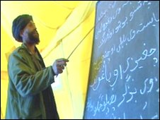 Teacher Najibullah at blackboard